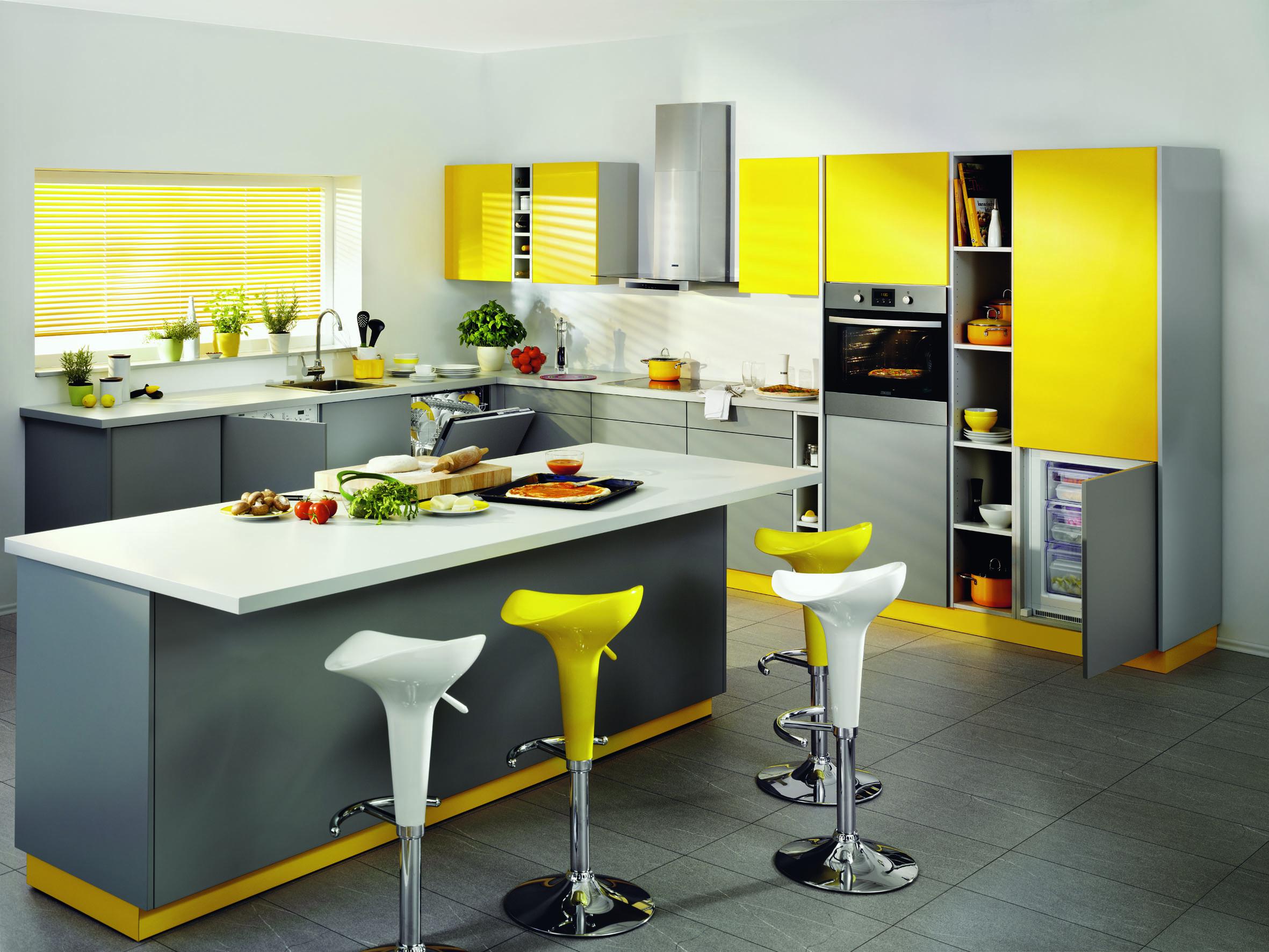 кухня в желто-сером цвете дизайн фото